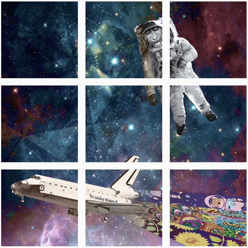 Instagram puzzle feed digital art galaxy spaceship and astronaut
